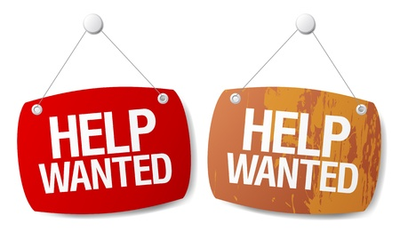 job search: Help wanted signs set.