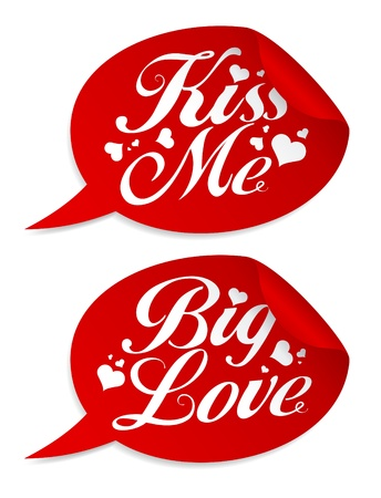 Kiss me Valentine stickers in form of speech bubbles. Vector