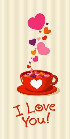desayuno romantico: Taza de t� con un coraz�n de amor. Vectores