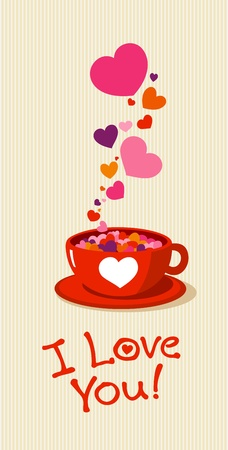 Tea cup with love hearts. Vector