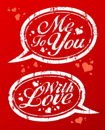 With love romantic rubber stamps collection. Vector