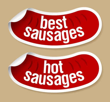 Best hot sausages stickers set. Vector