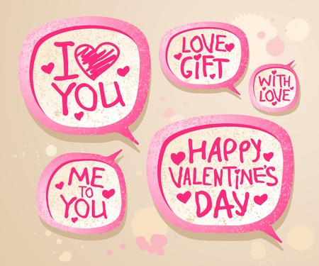 teenagers love: Happy Valentine`s day speech bubble icons. Illustration