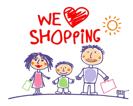 kid shopping: We love shopping hand drawn illustration with happy family. Illustration