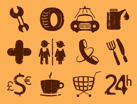 waypoint: Car services, gas station icons. Symbols roadside services, vintage style.
