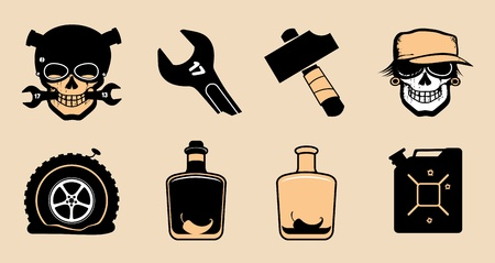 Cartoon icons in steampunk style. Vector