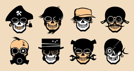 punk hair: Cartoon freak icons in steampunk style.