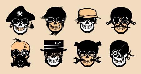 respirator: Cartoon freak icons in steampunk style.