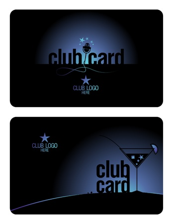 nightclub bar: Club plastic card design template for karaoke and lounge clubs.