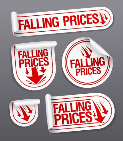 ollection: Falling Prices stickers set.