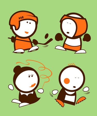 Set of sports funny peoples icons. Vector