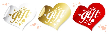 Gift stickers in the shape of a heart. Vector
