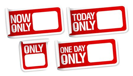 Only now stickers with empty place for price. Vector