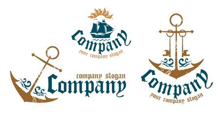 Ontwerp voorbeelden van symbolen voor maritieme bedrijven. Vector Illustratie