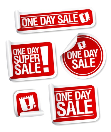 cheap: One Day Sale stickers set. Illustration