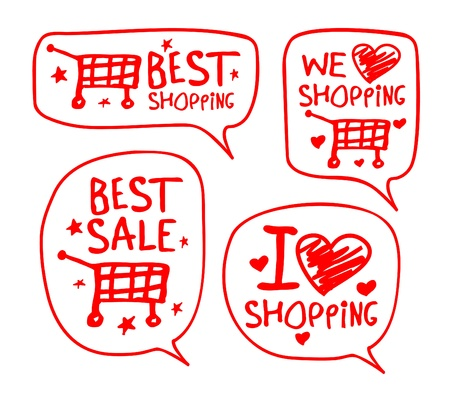 happy shopper: We love shopping hand drawn illustration with speech bubbles.
