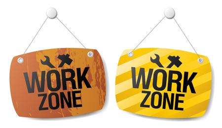 Work zone signs set. Vector