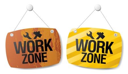 zone: Work zone signs set.