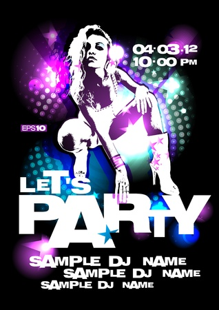 Let`s Party design template with fashion girl. Vector