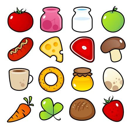 Iconos de colores con las comidas alimentos aislados. Ilustración de vector