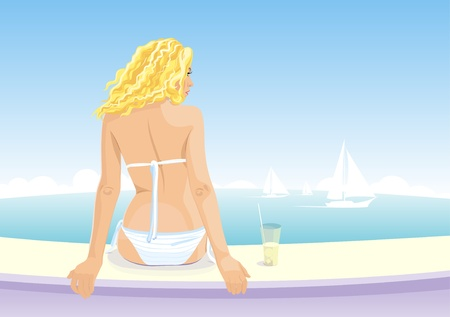Beautiful girl in white bikini sitting on a seaside and watching a yachts on the horizon. Back view.