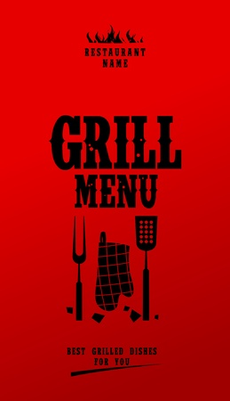 bbq picnic: Grill Menu Card Design template.