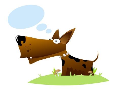 dog with idea bubbles Vector
