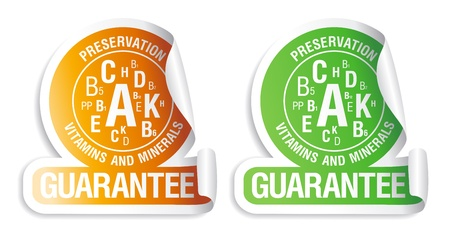 prepack: Preservation vitamins and minerals guarantee. Icons for canned and frozen fruits and vegetables. Illustration