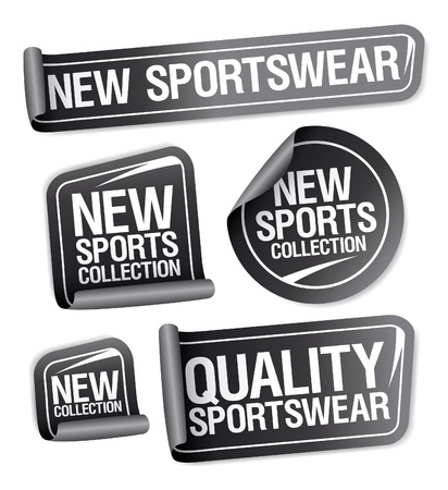 New sportswear collection stickers set. Vector