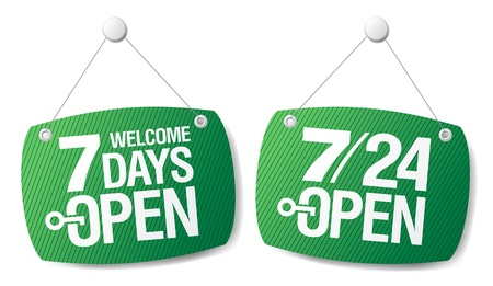 7 Days Open signs set Stock Vector - 12230714