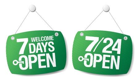 shopsign: 7 Days Open signs set