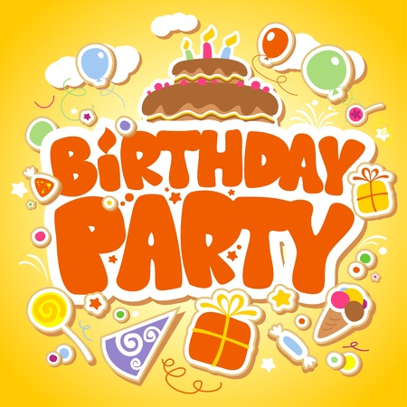Birthday Party design template for children. Vector