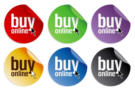 sell online: Buy online stickers set. Illustration