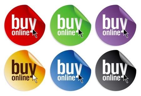 Online kaufen Aufkleber. Vektorgrafik