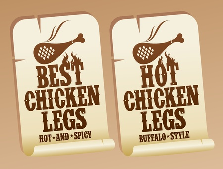Best hot chicken legs stickers. Vector