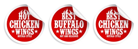 fried chicken wings: Best hot chicken wings stickers set. Illustration