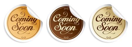 soon: Binnenkort stickers set. Stock Illustratie
