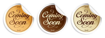coming: Coming soon stickers set.