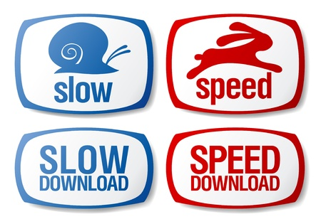 Slow and speed download buttons set. Vector