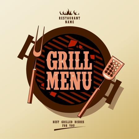 carne asada: Men� Grill tarjeta de dise�o de la plantilla.