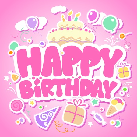 happy people: Happy Birthday pink card for girls. Illustration