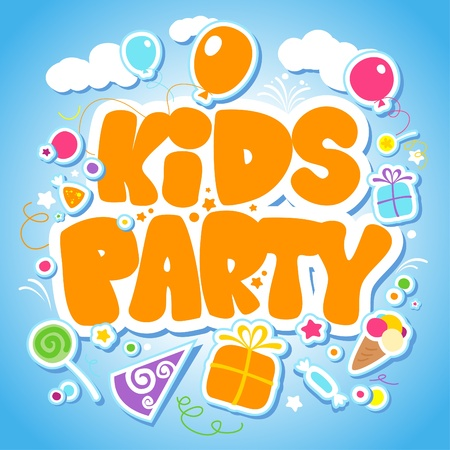 entertainment funny: Kids Party design template. Illustration