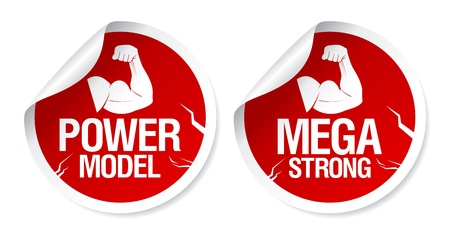Mega strong, power model stickers set. Vector
