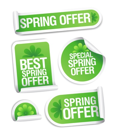 Best spring offer stickers set. Vector