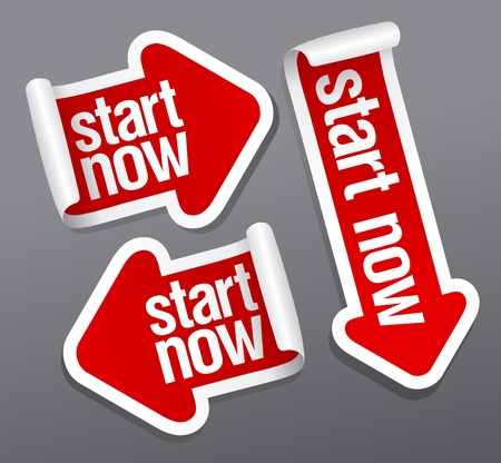 Start now stickers set. Vector
