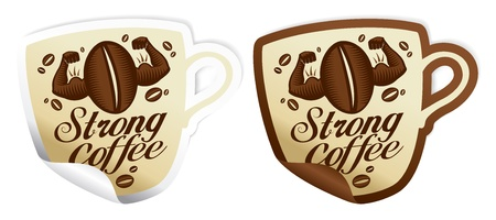 invigorate: Strong coffee stickers in form of cup.