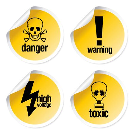warning signs: Toxic stickers set
