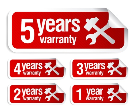 red warranty stickers set Vector