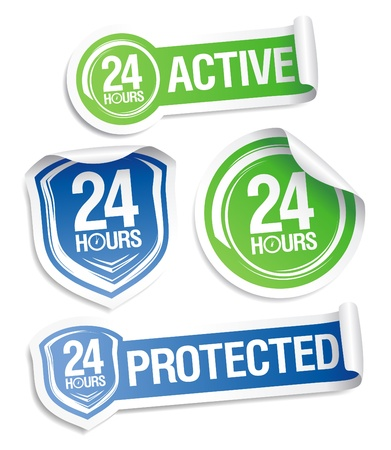 24 hours active protection stickers set. Vector