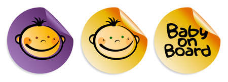 Baby on board round stickers set. Vector